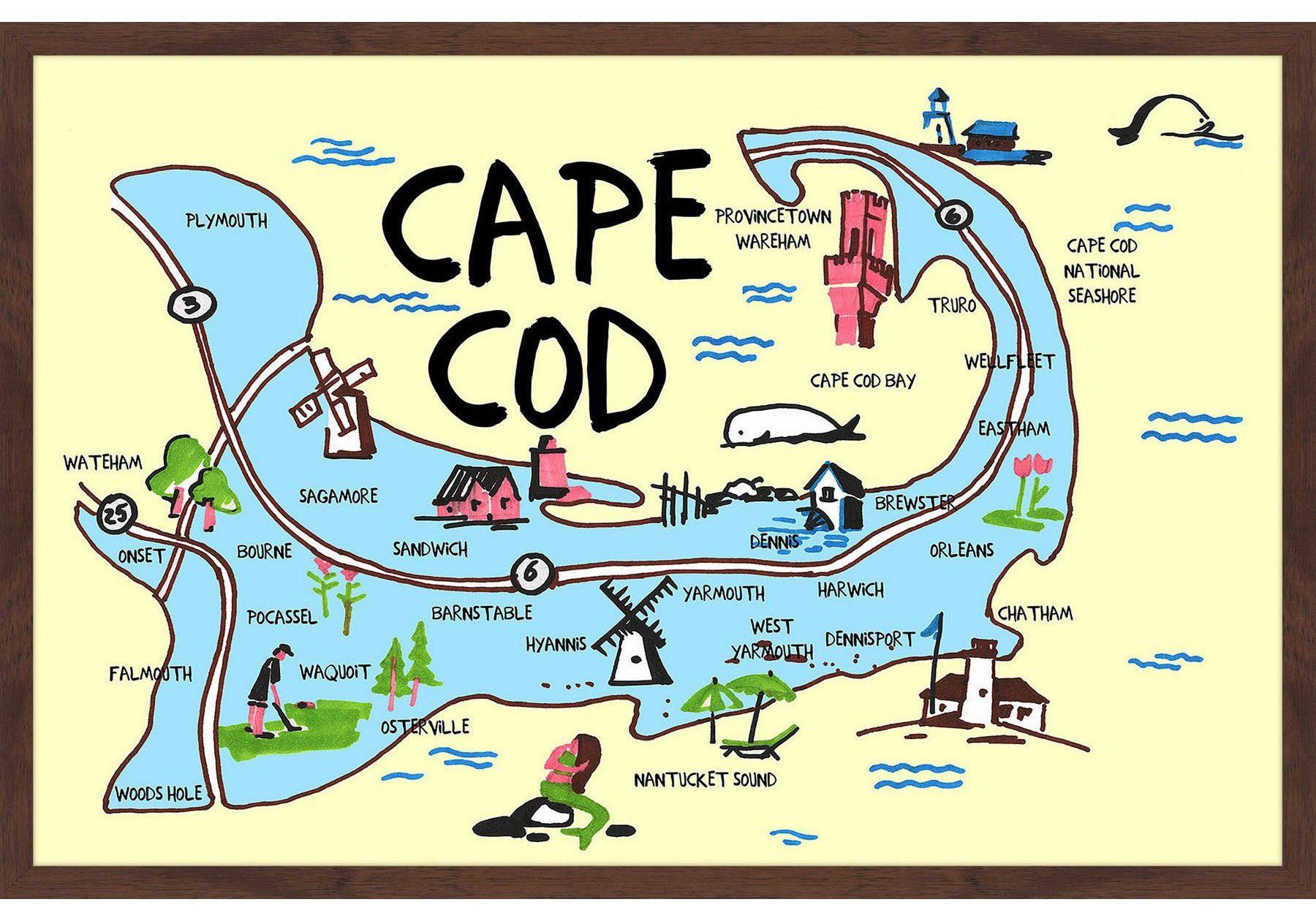Cape-Cod-Map-Framed-Painting-Print-581827b5-fffc-42cd-ad93-bb283b813a85